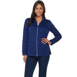 NEW Denim & Co. Lace Zip Front Jacket Medium Blue